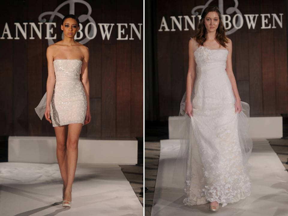 Strapless beaded mini wedding reception dress and classic aline bridal gown