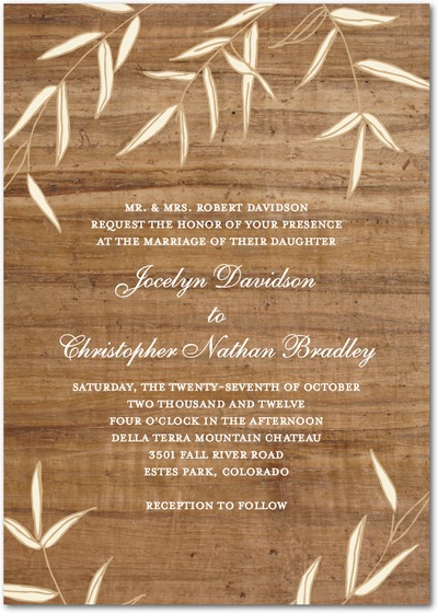 Vintageinspired Wood Wedding Invitation For Rustic Chic Spring Or Summer