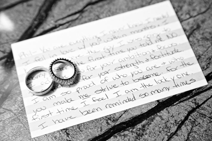 Handwritten note from the groom for his bride, wedding bands photographed on top of romantic note