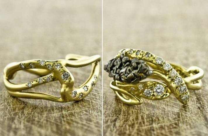 organic-engagement-rings-wedding-bands-yellow-gold-diamonds