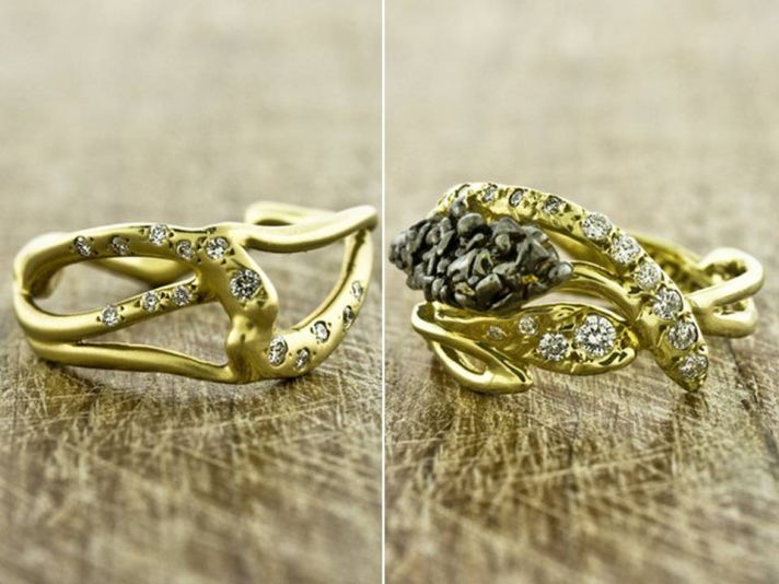 Recycled yellow gold unique engagement band and wedding band with pave diamonds