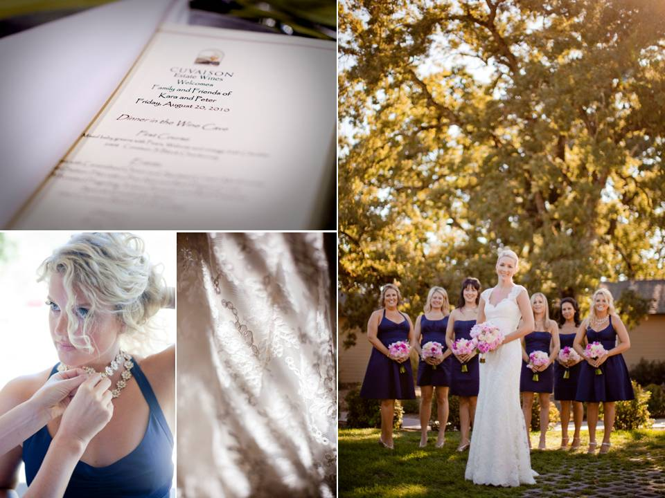 Fall wedding in Napa blushing bride wears ivory lace wedding dress
