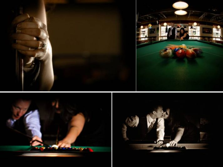 Artistic wedding photography for Chicago engagment session at River North Pool Hall