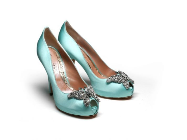 Chic Tiffany Blue satin peep-toe bridal heels with butterfly brooch