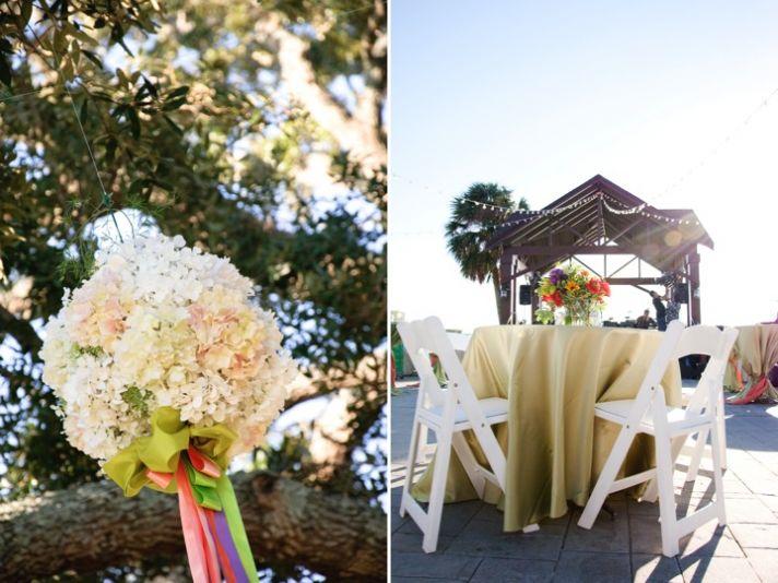 Outdoor wedding ceremony in Alabama with flower-adorned wedding arbor