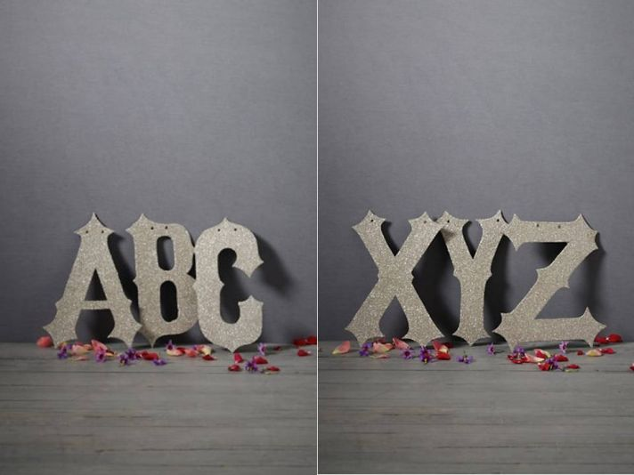 Personalize your wedding with silver metallic wedding letters by BHLDN