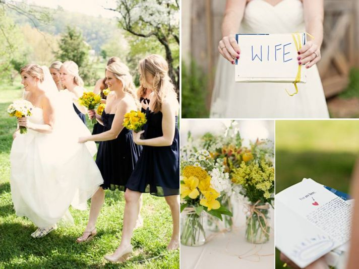 Casual Tennessee bride wears white wedding dress, holds Wife wedding sign