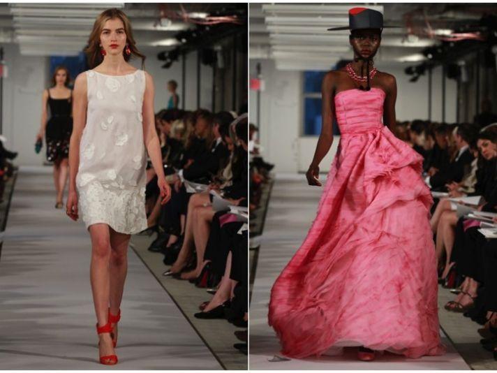 Short white sheath wedding reception dress and non-white ball gown by Oscar de la Renta