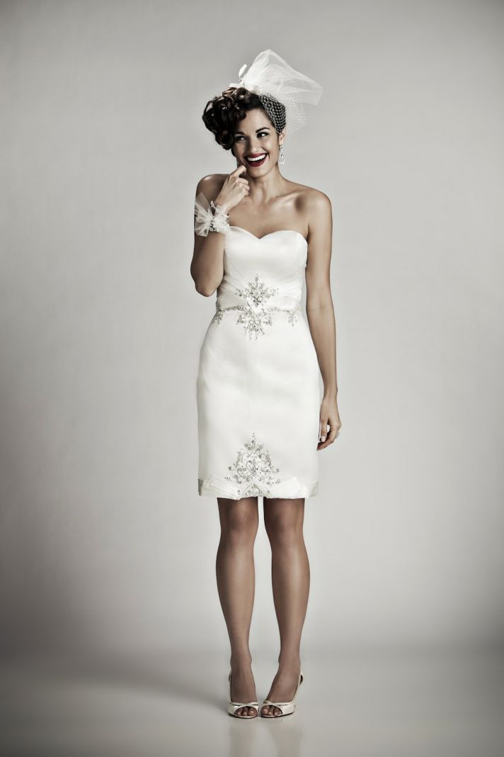 Adorable above-the-knee ivory silk strapless wedding reception dress