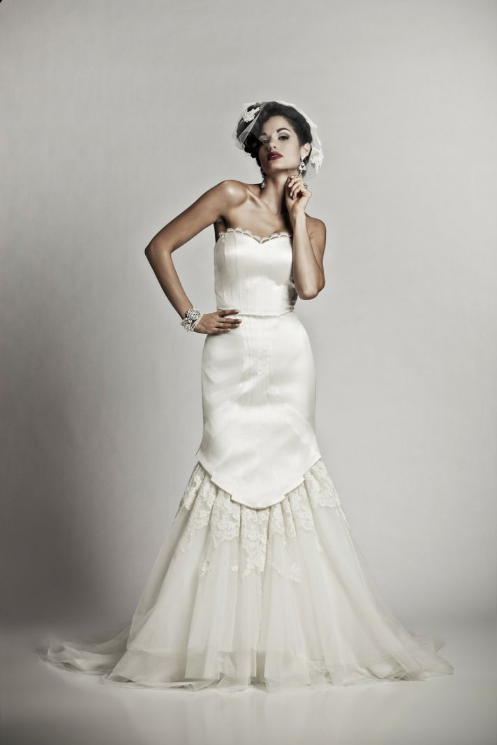 Knockout wedding dresses by matthew christopher onewed for Vintage mermaid wedding dress