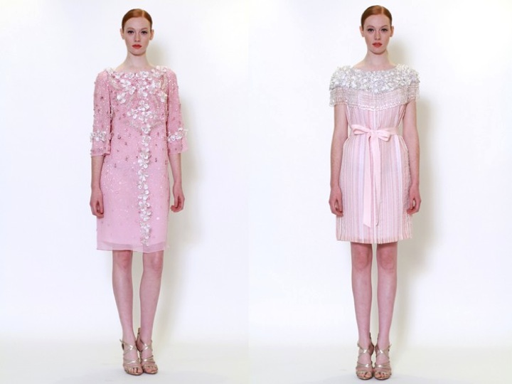 Credit Feminine rehearsal dinner or wedding reception dresses by Marchesa