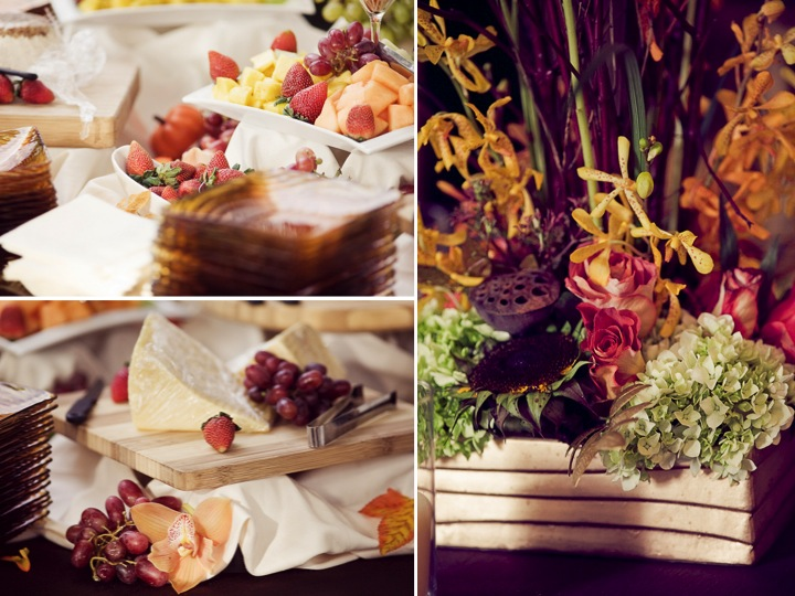 Europeaninspired cheese and fruit wedding reception appetizer and a