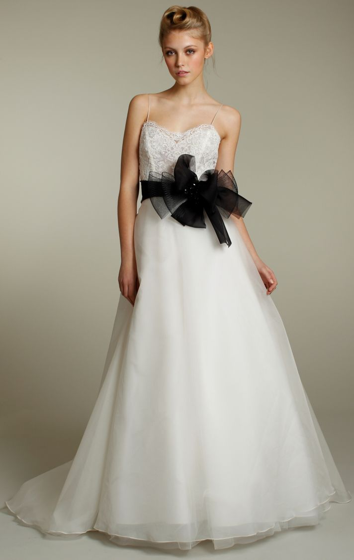Romantic strapless a-line wedding dress with embellished corset bodice and black sash