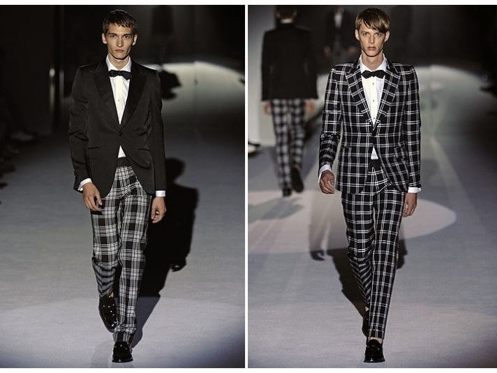 Dapper plaid tuxedo by Gucci and classic tux jacket with plaid pants for your groom