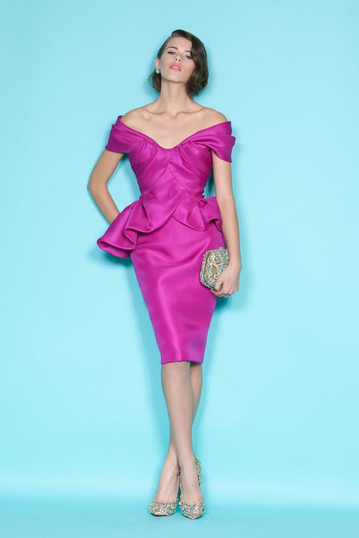Off-the-shoulder fuchsia bridesmaid dress by Marchesa