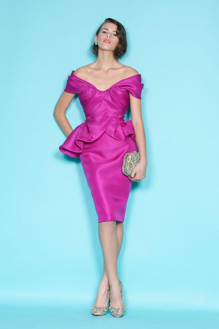 Off-the-shoulder fuchsia bridesmaid dress by Marchesa