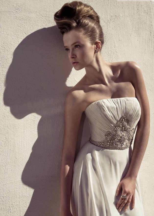 Grecian-inspired strapless wedding dress