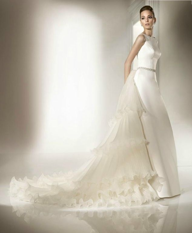 High neck classic wedding dress with ruffle-adorned train