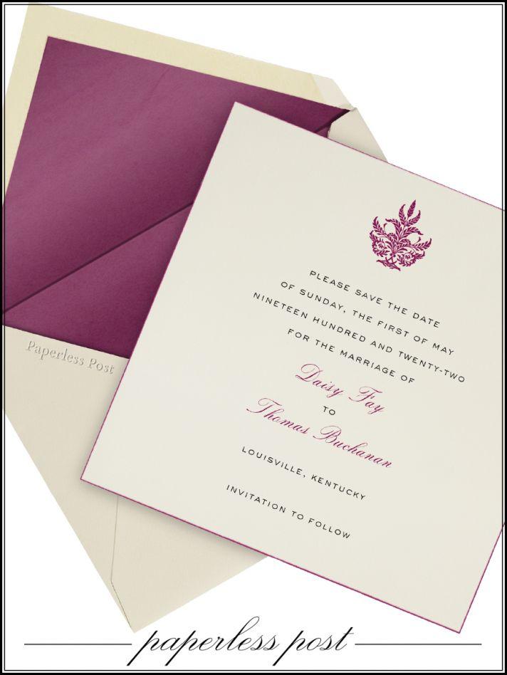 Cream and purple Paperless Post wedding invitation set