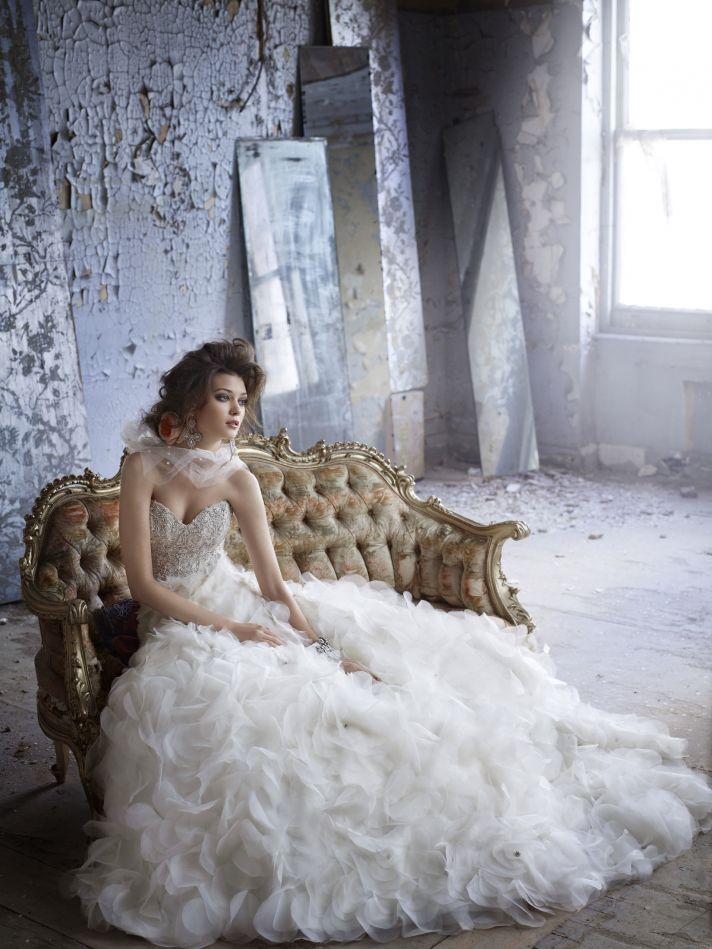 Wedding dress with beading and ruffle embellishment