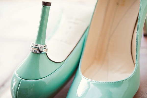 Turquoise patent leather bridal heels with diamond engagement ring