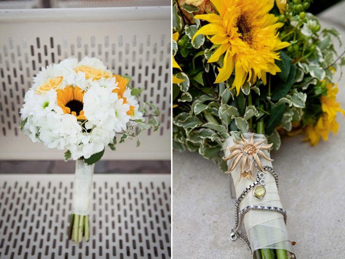 Bride's white and yellow sunflower bridal bouquet with her Something Old brooch