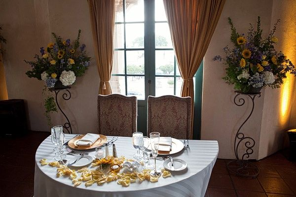 San Diego wedding reception venue with romantic sweetheart table for bride and groom