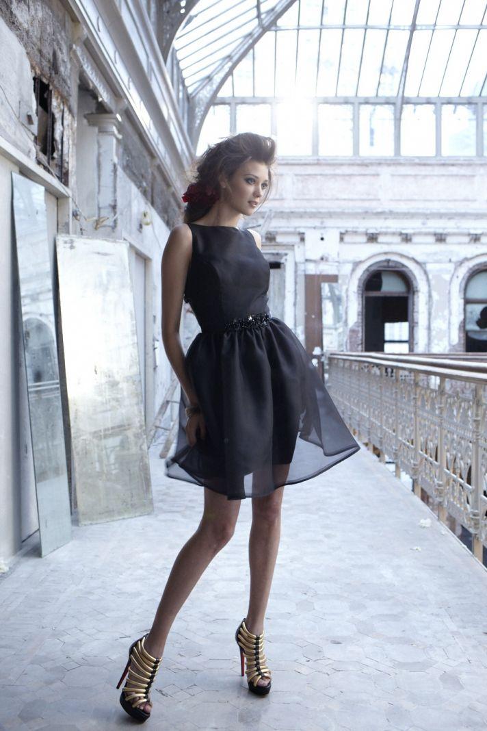 Black organza above-the-knee bridesmaid dress