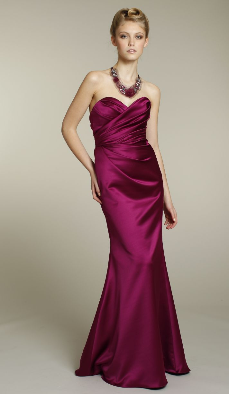 Satin sweetheart full-length bridesmaid dress