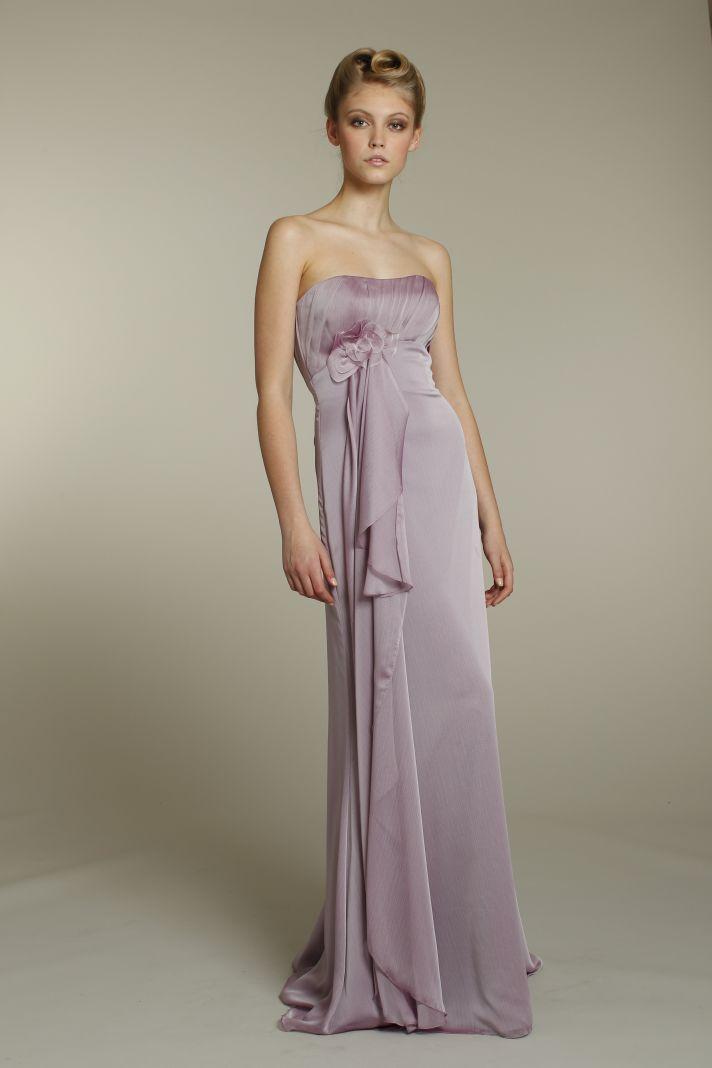 Romantic strapless chiffon bridesmaid dress