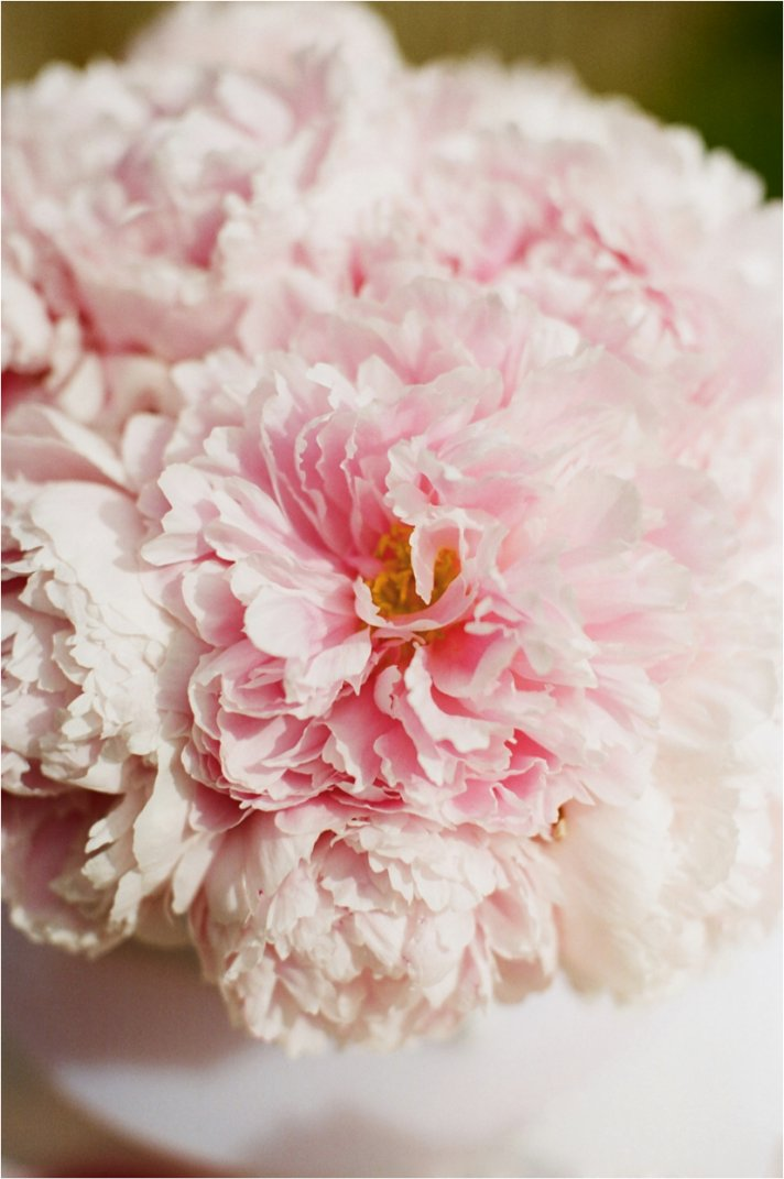 Romantic pink peony wedding flowers