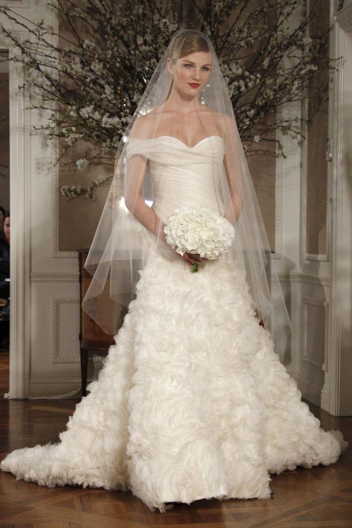 Stunning off-the-shoulder wedding dress