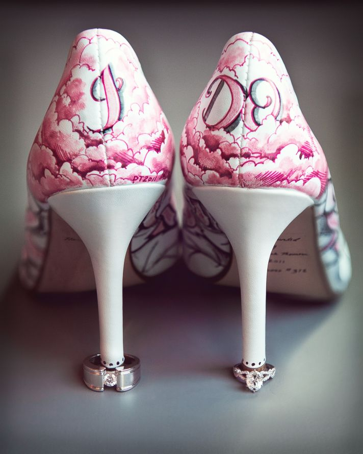 Handpainted I Do wedding shoes with engagement ring and wedding bands