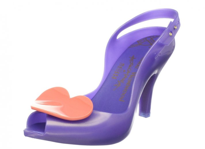 Purple wedding shoes with pink heart detail