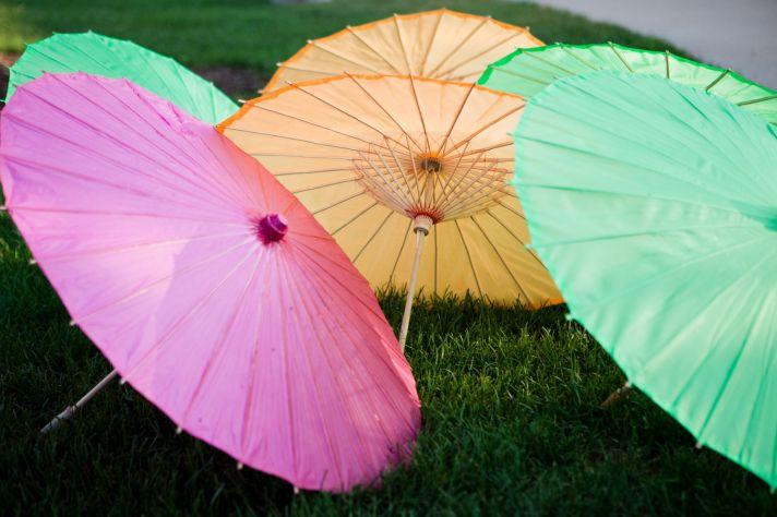 Pink, green, yellow wedding parasols