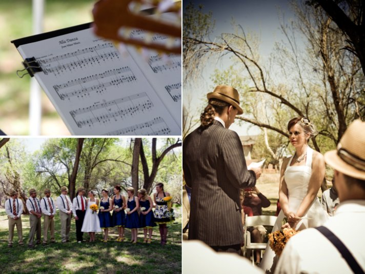 Outdoor wedding ceremony with retro-inspired 1950s wedding theme