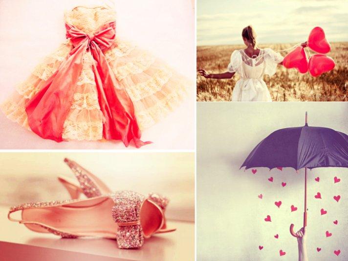 Romantic lace wedding dress, sparkly pink bridal heels