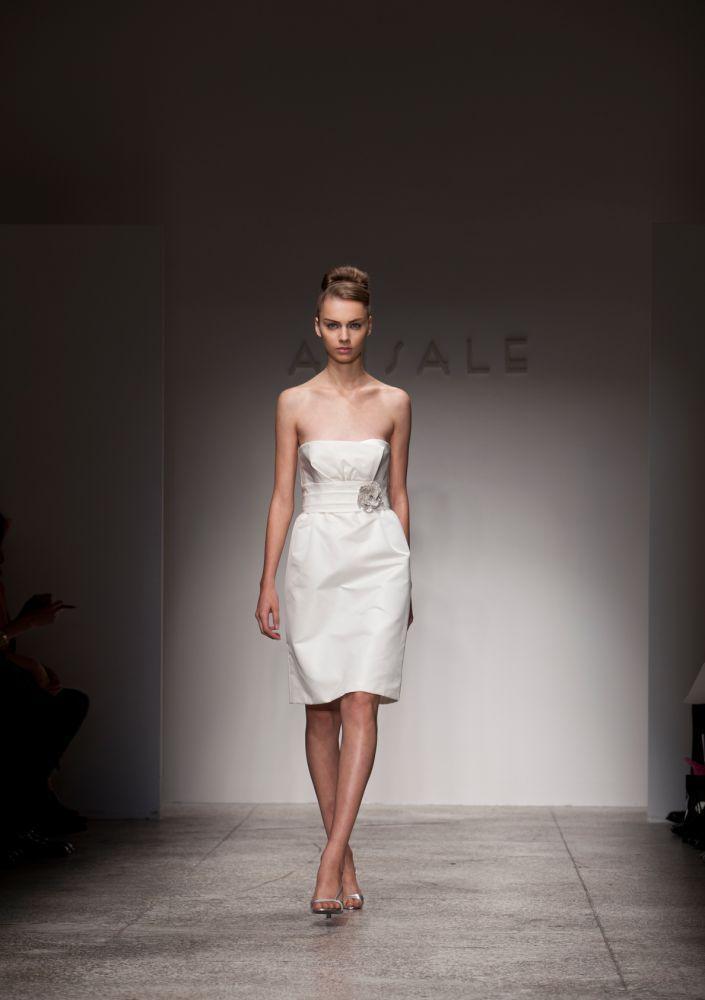 Strapless little white dress for wedding reception