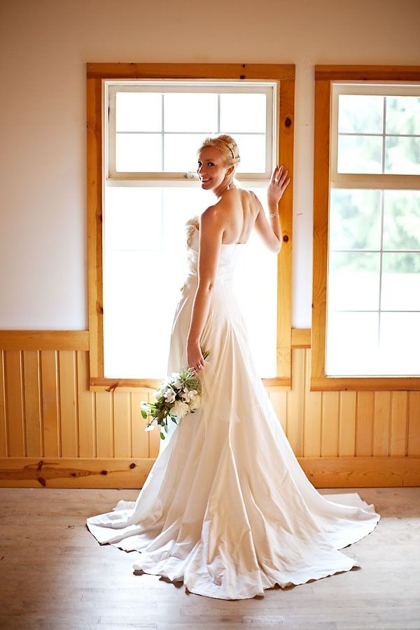 Classic strapless a-line wedding dress in eco-friendly fabric