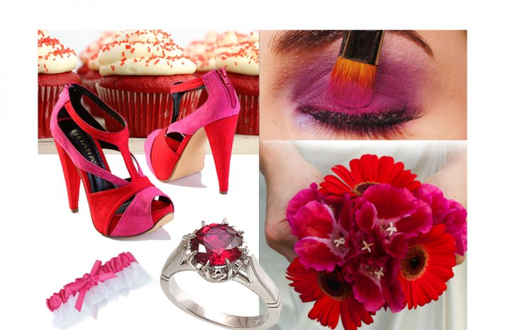 bright-wedding-colors-red-pink-bridal-shoes-wedding-flowers-bouquet