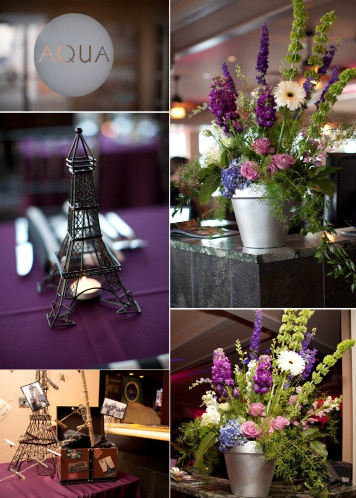 Rustic wedding flower centerpieces, Paris-themed wedding decor