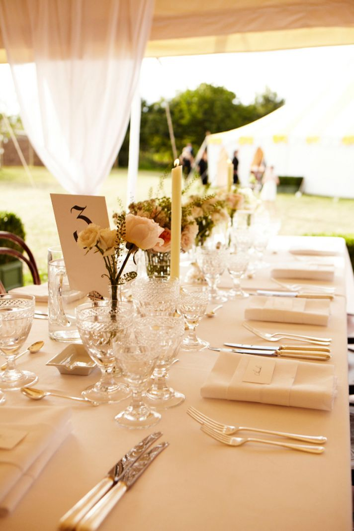 Romantic outdoor wedding reception tablescape at Kate Moss' wedding