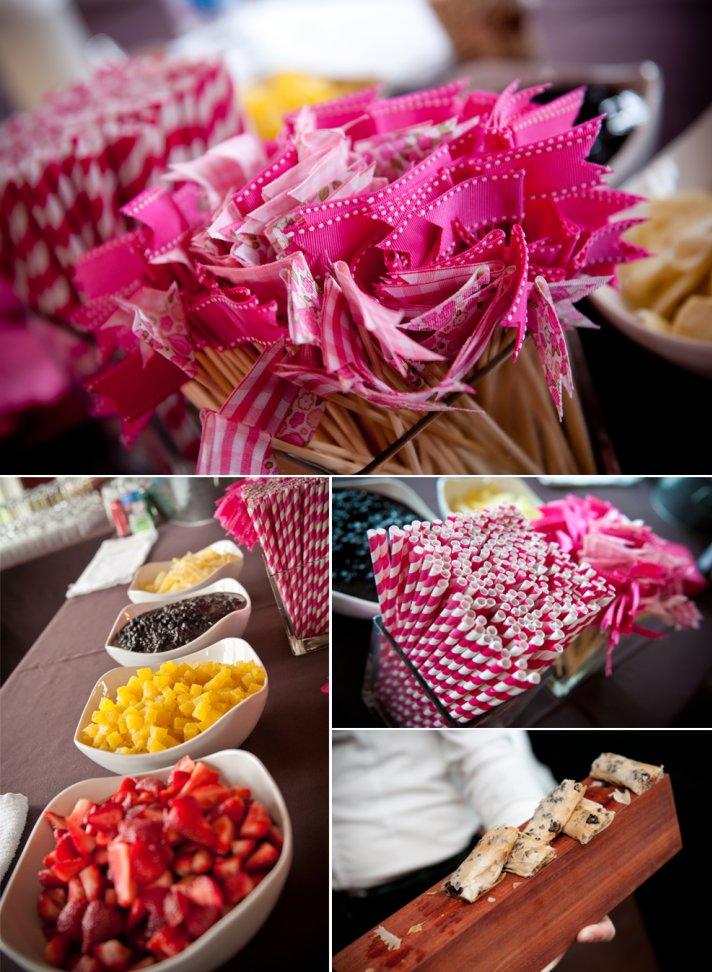 Personalized pink wedding reception decor