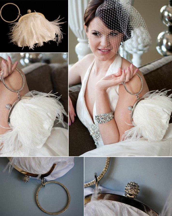 Feather-embellished vintage wedding clutch