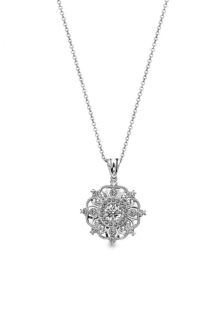 Elegant platinum and diamond bridesmaid pendant necklace