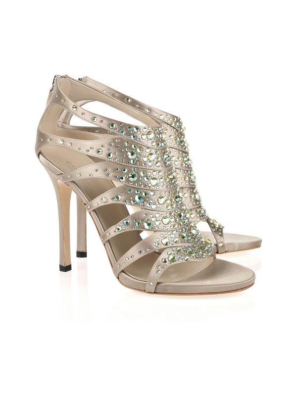 Champagne bridal heels with Swarovski crystals