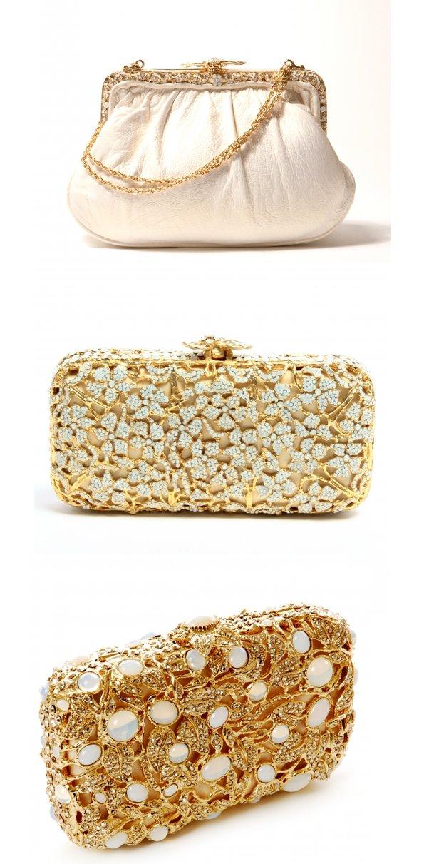 Elegant bridal clutches embellished with Swarovski crystals
