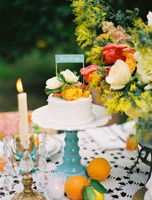 Wedding Cake Centerpiece by Jill Thomas Photography