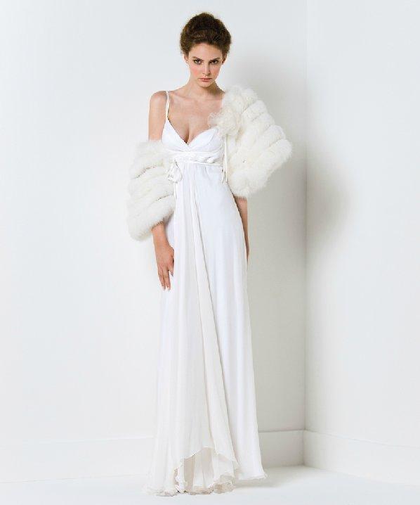 Spaghetti strap wedding dress with fur bridal shrug