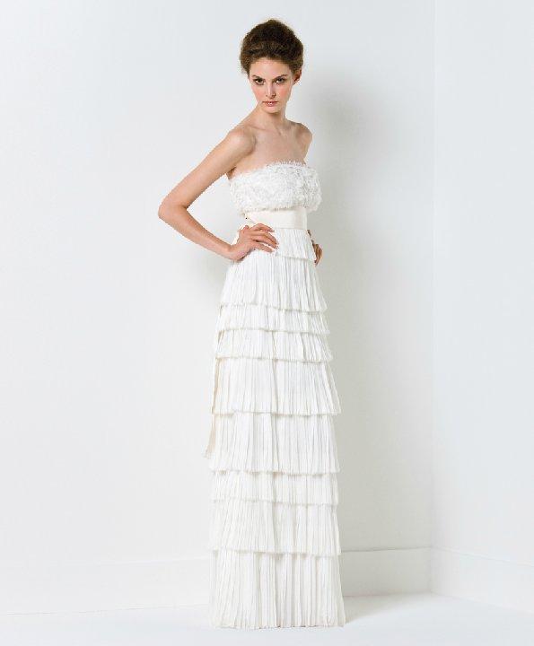 White lace column wedding dress